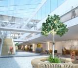Illustration över del av interiören vid Skaraborgs sjukhus efter ombyggnaden. Illustration: Abako