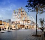 Växjös nya kombinerade stadshus och station. Illustration: White