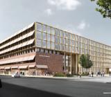Arkitektskiss över Uppsala stadshus nya utseende. Illustration: Henning Larsen Architects.