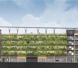 Illustration över nya p--huset som byggs vid Sege Park i Malmö. Illustration: Assemblin/Lloyds Arkitektkontor