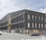 Illustration av Kirunas nya polishus, som ska stå klart våren 2023. Illustration: Stark Arkitekter