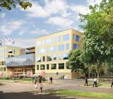 Ny vårdbyggnad vid Akademiska sjukhuset i Uppsala, som ska uppföras av Skanska. Foto: White
