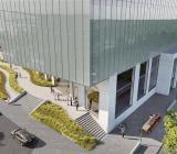 Kontorsbyggnaden till Volvoägaren Geelys nya Innovations Centre, som ska stå helt klart 2022. Illustration: Assemblin