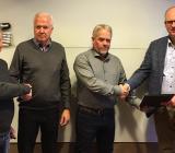 Fr v Hans Karlsson, projektledare NIAB, Leif Pettersson, regionchef Assemblin El, Håkan Nilsson, vd NIAB, och Fredrik Allthin, vd Assemblin El. Foto: Assemblin