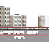 Gestaltning av Nackas nya mötesplats efter utbyggnaden av tunnelbanan. Illustration: ÅF