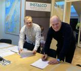 Huvudägaren Per Jonsson (th) och delägaren David Alm säljer nu sitt Elovent AB till Instalco, som därmed kommer in i Kalmarregionen.Foto: Instalco