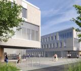 Hus 2 och 4 vid blivande Campus Albano. Illustration: Cedervall Arkitekter