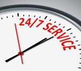 Symbol för 24/7-service. Illustration: Colourbox