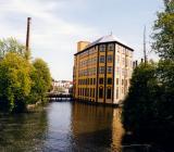 Centrala Norrköping med en av de mest kända gamla industribyggnaderna från textileran i Motala ström. Foto: Colourbox
