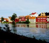 Gamla stan i Eskilstuna, sett över ån från centrumsidan. Foto: Colourbox