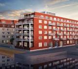 Illustration över BRF Dockporten i Malmö. Illustration: WEC360/Peab