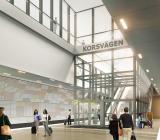 Visualisering av nya Station Korsvägen. Illustration: White Arkitekter