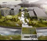 Visualisering av det blivande campusområdet vid ESS i Lund. Visualisering: Henning Larsen Architects/COBE/SLA