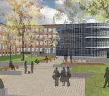 Illustration över nya grundskolan vid Borgarskolan i Malmö, som ska stå klar sommaren 2018. Illustration: Instalco