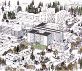 Illustrationen över Falu Lasaretts framtida gestaltning. Illustration: Assemblin