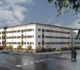 Illustration över fasaden till huvudentrén vid nya byggnad 28 i Norrlands Universitetssjukhus psykiatrienhet. Foto: Västerbottens läns landsting