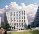 Den nya kommande behandlingsbyggnaden i Södersjukhusets (Stockholm) pågående utbyggnad. Foto: Locum