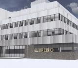 Skiss på japanska Fujirebios nya anläggning under uppförande i Mölndal. Illustration: Bra Bygg