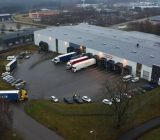 Transport från Hagers tyska centrallager på väg in till samarbetspartnern Kerry Logistics 3PL-anläggning i Borås. Foto; Hager