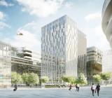Elite Hotels nya satsning i Hagastaden intill Nya Karolinska Solna, som syns i bakgrunden. Illustration: Nordomatic