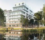 Riksbyggens projekt brf Djurgårdsvyn uppförs av JM Entreprenad i Norra Djurgårdsstaden i Stockholm. Illustration: JM Entreprenad