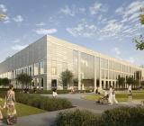 Ny behandlingsbyggnad på Karolinska i Huddinge. Bild: Skanska