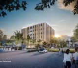 Illustration över Komatsu Forests nya fabrik som ska stå klar i november 2021. Illustration: TM Konsult