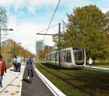 LTH-parken vid Lunds tekniska högskola blir en del av den nya spårvagnslinjen mellan Brunnshög och centrala Lund. Illustration: Metro arkitekter och Lunds kommun