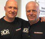 Robert Eriksson (tv), entreprenadchef för Sandbäckens och Rörproduktions verksamheter i Norrköping, och Thomas Stjärnborg, vd för båda verksamheterna. Foto: Sandbäckens