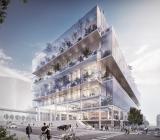 Illustration över Scandic Platinan i centrala Göteborg. Illustration: Erik Giudice Architects  Vasakronan