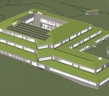 Illustration över Svartedalsskoln sett ovanifrån. Illustration: Flodéns