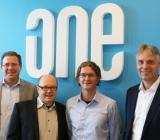 Från vänster (alla på One Nordic): Magnus Hasselgren, regionchef Specialiserade verksamheter, Ola Hedberg, säljansvarig Mätteknik, Peter Davidsson, projektledare Mätteknik, och Anders Malmberg, avdelningschef Mätteknik
