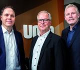 Seniora konsulterna (fr.v.) Mikael Sjödin, Mats Olsson och Jonas Jonsson, vd, leder det nya bolaget Umia Innovation AB. Foto: Umia