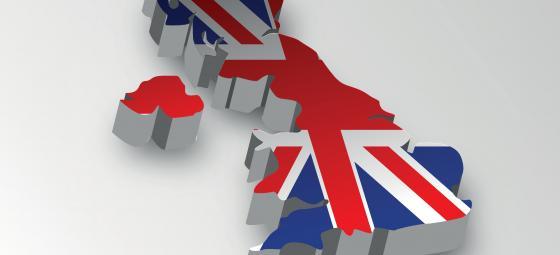 Grafik med flaggillustrerad karta över Storbritannien. Illustration: Colourbox