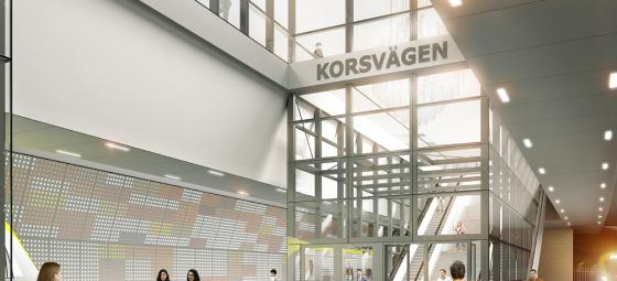Visualisering av nya Station Korsvägen. Illustration: White Arkitekter