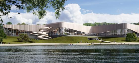 Nya simhallen i Linköping. Illustration: Lejonfastigheter