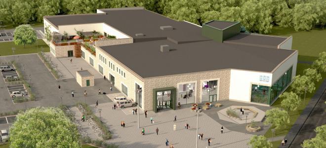 Kristianstads nya badhus på Näsby i nordvästra delen av staden. Illustration: Wegroup