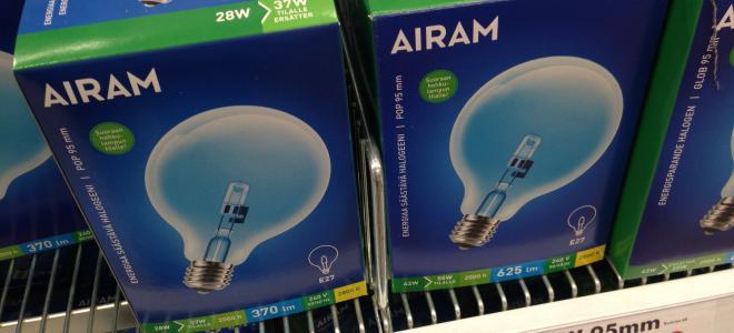 Airam-produkter i detaljhandeln. Foto: Rolf Gabrielson