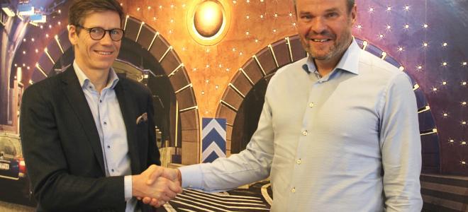 Puracs vd Jonas Fack (tv) och Bravidas projektchef Mika Sundholm. Foto: Bravida