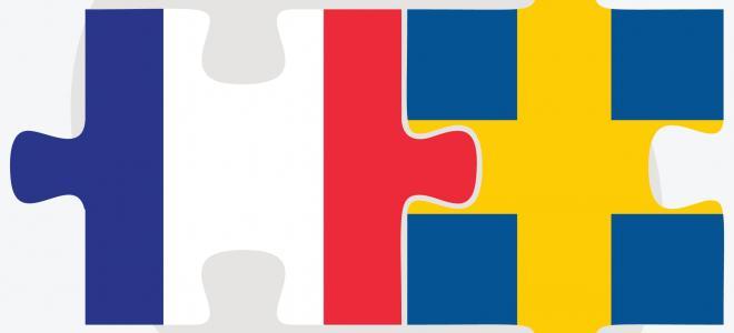Svenska och franska flaggan sammanpusslade. Illustration: Colourbox