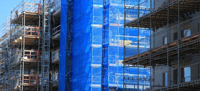 Byggarbetsplats för bostadsprojekt i Älvsjö i södra Stockholm. Foto: Colourbox