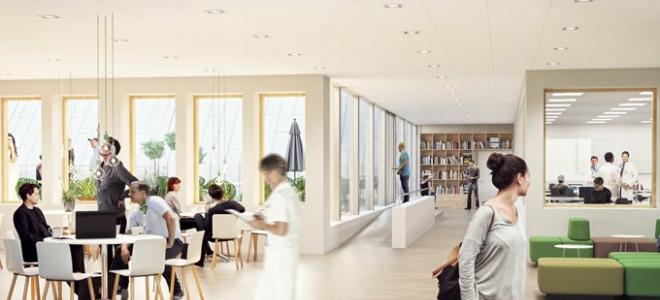 Högst upp i den nya vårdbyggnaden vid Länssjukhuset i Ryhov kommer det att bedrivas läkarutbildning på uppdrag av Linköpings Universitet. Illustration: White Arkitekter