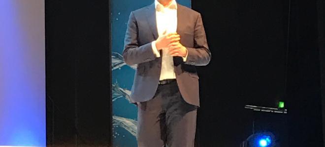 Grohechefen Michael Rauterkus vid företagets event inför ISH 2017. Foto: Rolf Gabrielson