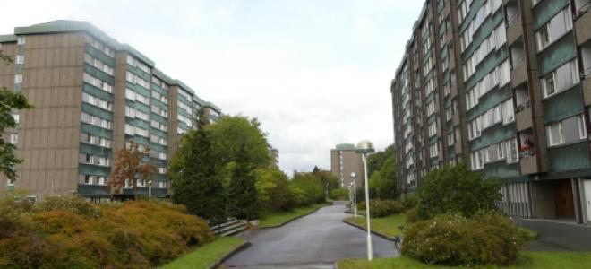 Bostadsområdet Prästgårdsängen i Göteborgsstadsdelen Örgryte under miljonprogrammets dagar. Foto: Brion