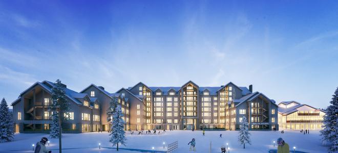 Illustration över blivande hotellet Skistar Lodge Hundfjället. Illustration: Skistar