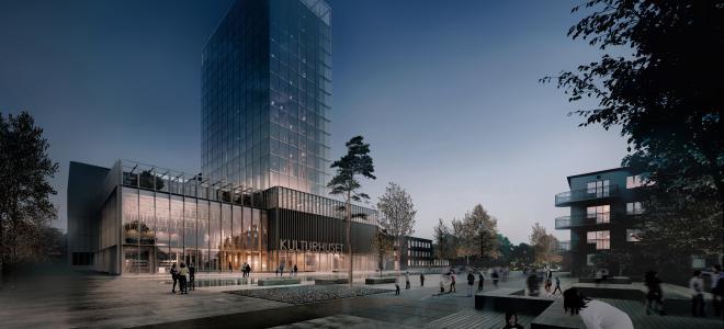 Illustration över Skellefteås blivande kulturhus och hotell. Illustration: White Arkitekter