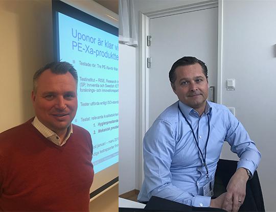 Uponor VVS Sverigechef Andreas Mårtensson (tv) och LK Systems vd Michael Söderberg. (bilden är ett montage). Foto: Rolf Gabrielson